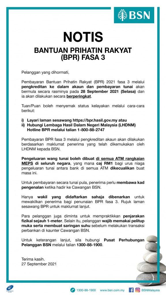 Cara Tunai Baucer BPR Fasa 3 Di BSN